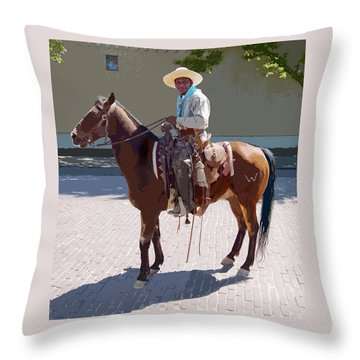 Throw Pillow featuring the digital art Real Cowboy by John Dyess