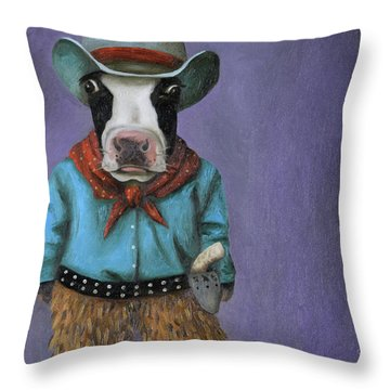 Throw Pillow featuring the painting Real Cowboy by Leah Saulnier The Painting Maniac