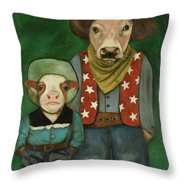 Throw Pillow featuring the painting Real Cowboys 3 by Leah Saulnier The Painting Maniac