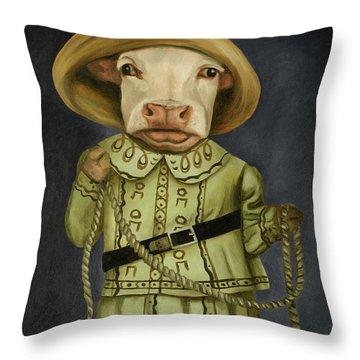 Throw Pillow featuring the painting Real Cowgirl 2 by Leah Saulnier The Painting Maniac
