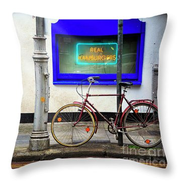 Throw Pillow featuring the photograph Real Hamburgers Bicycle by Craig J Satterlee