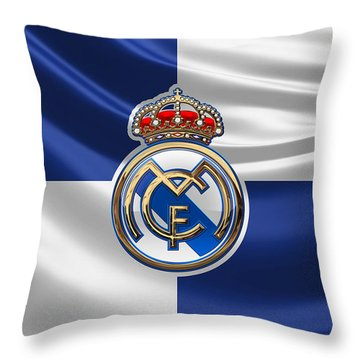 Real Madrid C F - 3 D Badge Over Flag Throw Pillow by Serge Averbukh