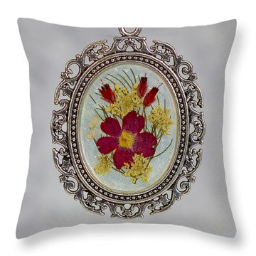 Real Pressed Verbena And Heather Blossoms Throw Pillow