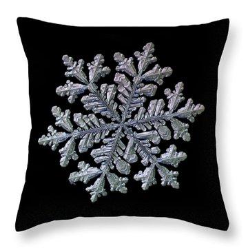 Real Snowflake - Hyperion Black Throw Pillow
