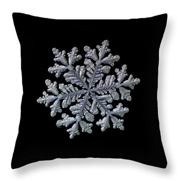 Real Snowflake - Hyperion Black Throw Pillow
