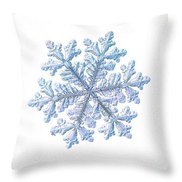 Real Snowflake - Hyperion White Throw Pillow