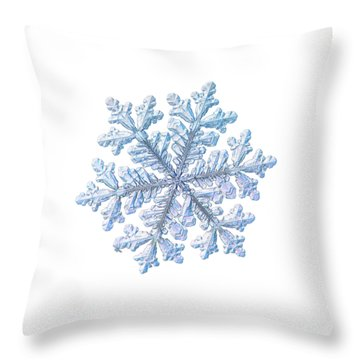 Throw Pillow featuring the photograph Real Snowflake - Hyperion White by Alexey Kljatov