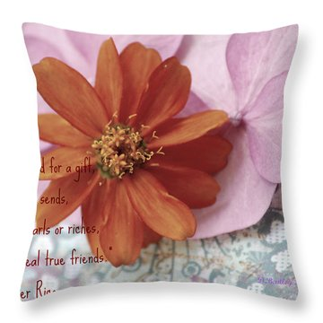 Throw Pillow featuring the photograph Real True Friends by Donna Bentley