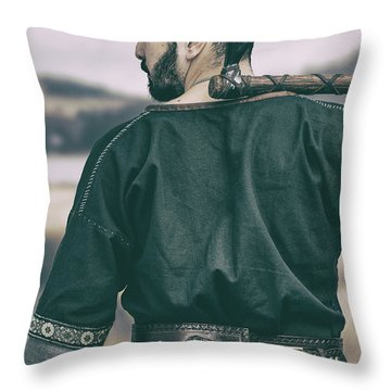 Rear View Of Warrior Throw Pillow