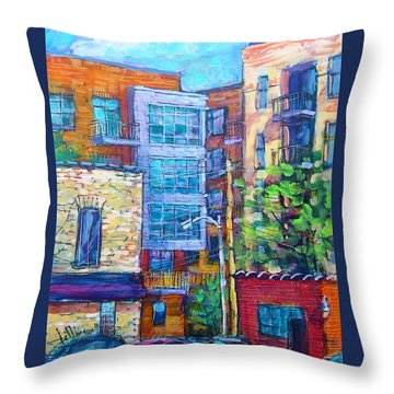 Throw Pillow featuring the painting Rear Windows by Les Leffingwell