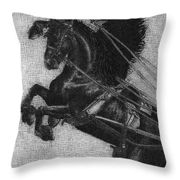 Rearing Horses Throw Pillow