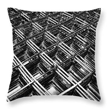 Rebar On Rebar - Industrial Abstract Throw Pillow