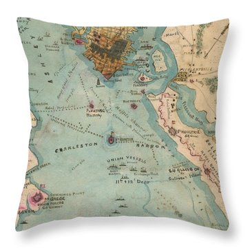 Rebel Defenses Of Charleston Harbor Throw Pillow