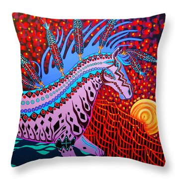 Throw Pillow featuring the painting Rebel Moon by Debbie Chamberlin