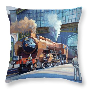 Throw Pillow featuring the painting Rebuilt Chapelon Pacific At Calais. by Mike  Jeffries