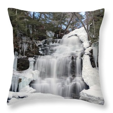 Receding Winter Ice At Ganoga Falls Throw Pillow