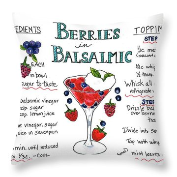 Recipe- Berries In Balsamic Throw Pillow