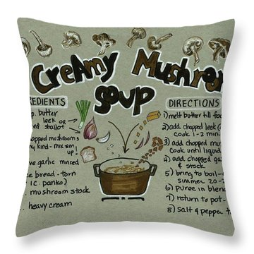 Recipe Mushroom Soup Throw Pillow
