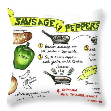 Recipe Sausage And Peppers Throw Pillow