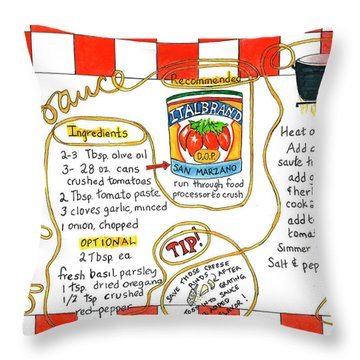 Recipe -spaghetti Sauce  Throw Pillow