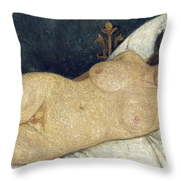 Reclining Female Nude Throw Pillow by Paula Modersohn-Becker