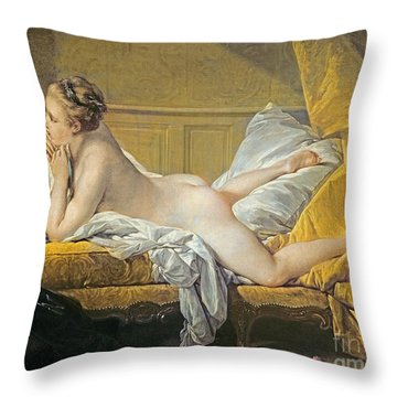 Reclining Nude Throw Pillow by Francois Boucher