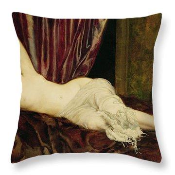 Reclining Nude Throw Pillow by Henri Fantin Latour
