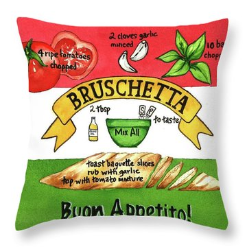 Recpe-bruschetta Throw Pillow