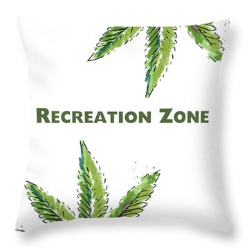 Throw Pillow featuring the mixed media Recreation Zone Sign- Art By Linda Woods by Linda Woods
