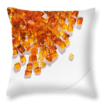 Throw Pillow featuring the photograph Rectangular Stones Yellow Amber  by Andrey  Godyaykin