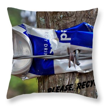 Throw Pillow featuring the photograph Recycle Please by Betty Northcutt