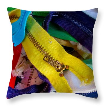 Recycle Your Zippers Throw Pillow by Gwyn Newcombe
