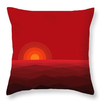 Red Abstract Sunset II Throw Pillow by Val Arie
