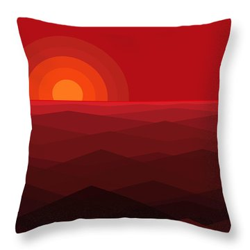 Red Abstract Sunset Throw Pillow by Val Arie