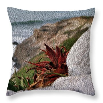 Red Aloe Vera By The Sea Throw Pillow