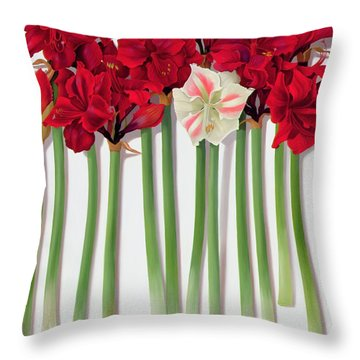 Red Amaryllis With Butterfly Throw Pillow by Lizzie Riches