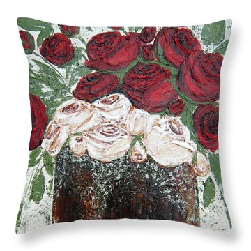 Red And Antique White Roses - Original Artwork Throw Pillow