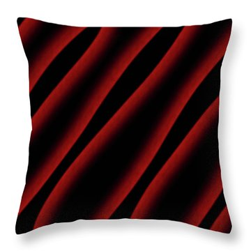 Red And Black Abstract Waves Throw Pillow