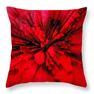 Throw Pillow featuring the photograph Red And Black Explosion by Susan Capuano