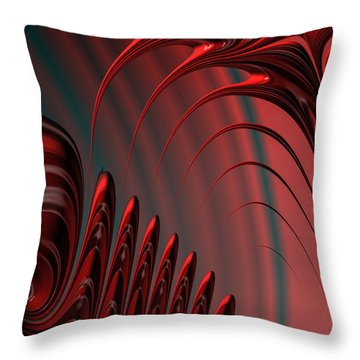 Red And Black Modern Fractal Design Throw Pillow