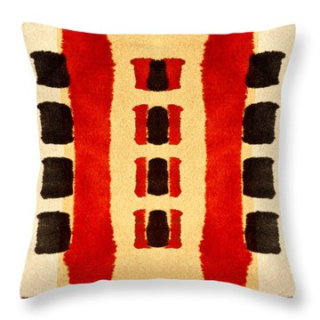 Red And Black Panel Number 3 Throw Pillow