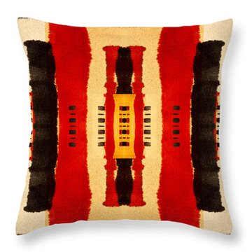 Red And Black Panel Number 4 Throw Pillow by Carol Leigh