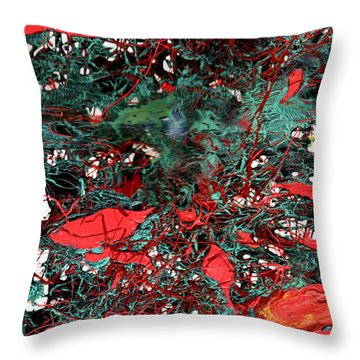 Throw Pillow featuring the painting Red And Black Turquoise Drip Abstract by Genevieve Esson