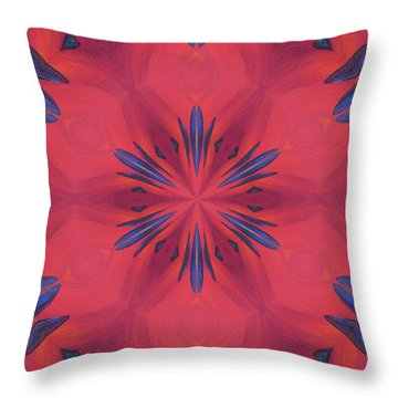 Throw Pillow featuring the mixed media Red And Blue by Elizabeth Lock