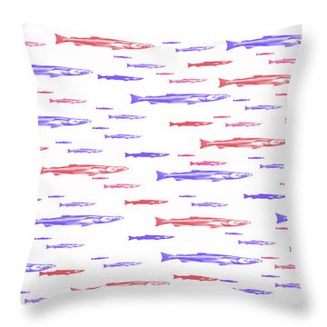 Red And Blue Fish Pattern Throw Pillow