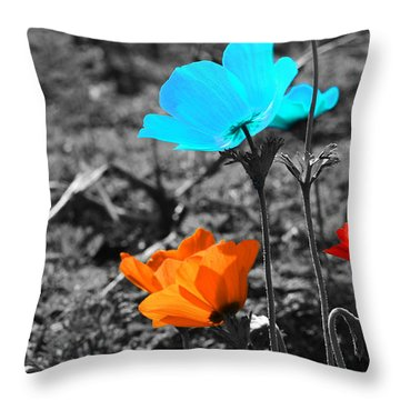 Red And Blue Flowers On Gray Background Throw Pillow