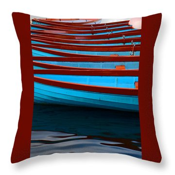 Red And Blue Paddle Boats Throw Pillow