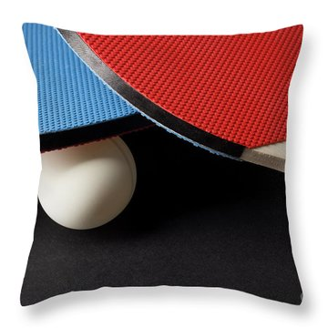 Red And Blue Ping Pong Paddles - Closeup On Black Throw Pillow