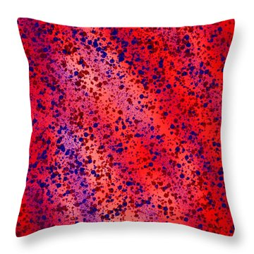 Red And Blue Splatter Abstract Throw Pillow