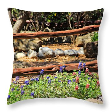 Red And Bluebonnets Throw Pillow
